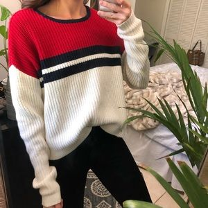 Red+White+Navy Kendall & Kylie Knit crop sweater